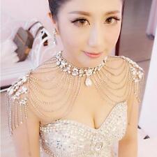 Wedding Jewelry Bridal Necklace Crystal Rhinestone Shoulder Chain + Earrings