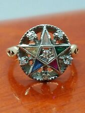 Vintage Masonic Eastern Star 10k Yellow White gold Diamond Ladies Ring Size 5.5