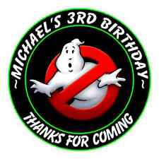 24 GHOST BUSTERS PERSONALIZED BIRTHDAY PARTY STICKERS FAVORS LABELS ROUND #2