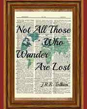 JRR Tolkien Dictionary Art Print Book Map Traveler Picture Poster Vacation Gift