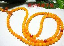 5mm Tibet Buddhism 108 Gold Tridacna Prayer Bead Mala