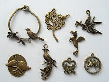 8 Mixed Antique Bronze Birds Charm Pendant 19mm-50mm Jewellery (TSC34)