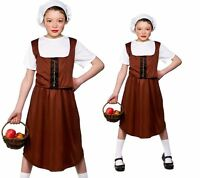 Kids Tudor Peasant Girl Costume Brown Victorian Fancy Dress Outfit