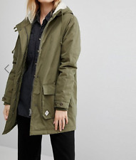 Vans Casual Khaki Green Faux Fur Lining Hooded Parka Coat XS 8 36 US 4 £140 New