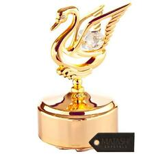 24K Gold Plated Music Box with Crystal Studded Swan Figurine by Matashi