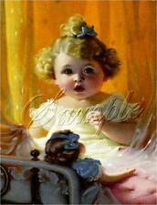 "ANTIQUE DOLL ART CHILD GIRL BRASS BED ORANGE VINTAGE CANVAS PRINT LARGE 13""x19"""