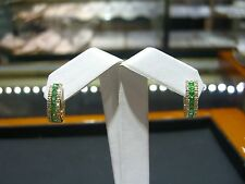 FINE WOMENS HUGGIE EARRINGS DIAMOND AND PERIDOT 14 KARAT YELLOW GOLD NEW WOW!