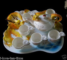 8PC Auspicious Dragon Ceramic Porcelain Tea Set 6Cups 1Platter 1Pot Wedding Gift