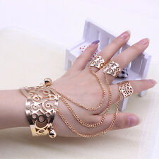 Women's Hollow Out Bell Charm Cuff Bangle Bracelet Chain with 3 Rings Gold