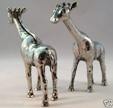 NIB Pottery Barn Giraffe Salt & Pepper Silver Figural Hostess Gift Set Safari