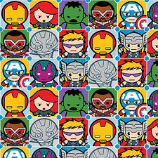 Marvel Kawaii Character Tiles 100% Cotton fabric by the yard PRE-ORDER