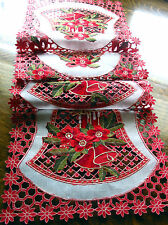 """Christmas Embroidered Table Runner Cut Work Bell Poinsettia 70""""x16"""" Red White"""