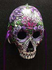 Sugar Skull Half Mask Day Of The Dead Dia De Los Muertos Purple  Roses Candy 270