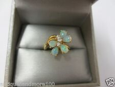 14KT Yellow Gold Opal Cluster Ring w/ (3) Diamonds (Size 5.25)