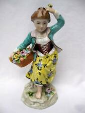 ANTIQUE SITZENDORF GERMAN PORCELAIN FIGURINE YOUNG GIRL WITH BASKET OF FLOWERS