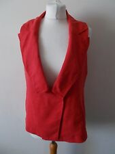Women's Faded Red Linen Blend Collared Waistcoat Vest by ZARA Size M