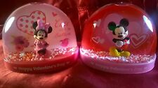 Disney Mickey Mouse & Minnie Mouse Snow Globes Set Of 2 Valentine's Day 2017 New