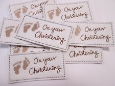 10 x Embroidered On Your Christening Photo Album Baby Card Making Motifs #11A32
