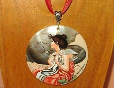 Russian hand painted SHELL pendant REPRO MUCHA SEPTEMBER Autumn MONTH VIRGO GIFT