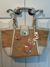 COACH Limited Edition Straw Hamptons Weekend Floral Applique Tote 19347