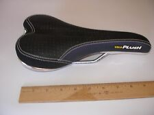 VELO PLUSH SADDLE MTB BMX BLACK / NAVY BLUE CROMO RAILS