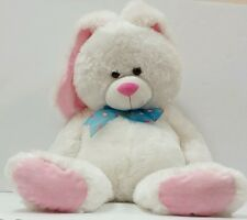 "Hugfun HUGE  26"" White & pink Plush Bunny Rabbit Hug Fun BIG Stuffed Animal Toy"