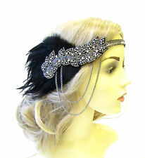 Black Charcoal Silver Feather Headpiece 1920s Headband Flapper Great Gatsby 1574