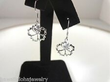 13.5mm Hawaiian Sterling Silver Textured Hibiscus Burst Flower CZ Hook Earrings
