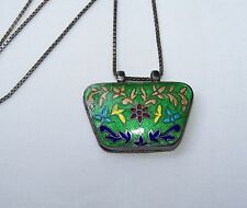 Vintage ITALY STERLING SILVER FLORAL ENAMEL 2-SIDED PILL BOX PENDANT NECKLACE