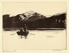 Evening Rise Norman Wilkinson 1930s antique fishing print ready mounted  SUPERB