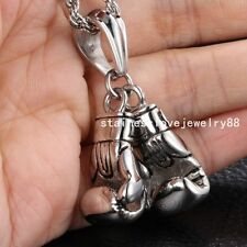 2pcs/set Silver Stainless Steel Mens Charm Boxing Glove Pendant Free Box Chain