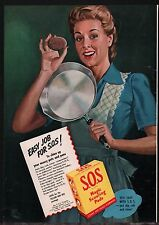 1945 S.O.S. SOS Pads 40s Forties Housewife in Apron Vintage Kitchen Decor AD