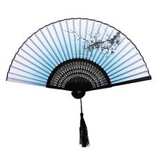 Japanese Chinese Bamboo Silk Plum Blossom Folding Hand Fan Wedding Party New