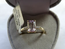 Precious Pink Mawi Kunzite & Diamond 9K Yellow Gold Ring Size P-Q/8