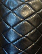Viny Faux leather Upholstery Black  Big Diamond 4x6 Quilted fabric Foam Backing