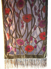 Velvet devore scarf/shawl  Red/pink/green floral design on black    NEW