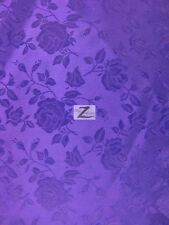 "FLORAL ROSE JACQUARD SATIN FABRIC - Purple - 60"" WIDTH SOLD BY THE YARD"