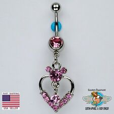 Mickey Mouse Dangle Belly Ring Bar Pink CZ Heart and Solitaire Navel Ring (C4)
