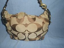 COACH 10619 Signature Carly Hobo Shoulder Purse Khaki/Chocolate