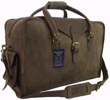 "22""x14x9 Mens Rustic Genuine Buffalo Leather Duffel Carry On Suitcase Travel Bag"