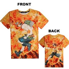 Anime One Piece Portgas D Ace Printed Clothing Short Sleeve T-shirt Tee Tops