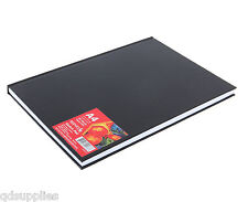 A4 REEVES HARDBACK SKETCH BOOK 80 PAGE 96gsm BLACK ARTIST JOURNAL DRAWING PAD