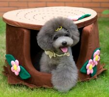 New Pretty Tree and Flower Shape Pet Dog Cat House Bed 55x55x42cm Brown