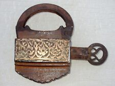 Antique Old Rare Iron Hand Carved Brass Decorated Heavy Screw System Key Padlock