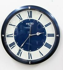 SEIKO  BLUE METALLIC CASE WALL CLOCK W/ QUIET SWEEP AND LUMINOUS HANDS QXA669LLH