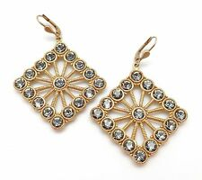 CATHERINE POPESCO Large Square Dark Grey Swarovski Gold Plated Earrings 2 1/4""