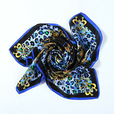 Small Square Silk Scarf Blue Theme Leopard Print XFJ054