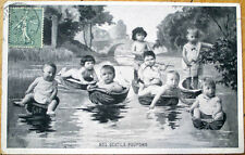 1906 Multiple Baby Postcard: Babies Floating in Walnut Shells, Fishing