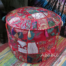 Large Vintage Indian Ottoman Elegant Patchwork Bohemian Red Otoman Footstool Art