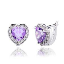 Romantic Stud Earrings Real White Gold Filled Heart Cubic Zircon Women Girl